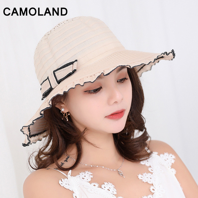 Fashion Summer Sun Hats for Women Travelling Beach Caps Outdoor UV  Protection Ladies Casual Headwear Protective Straw Bow Vogue 7e4e3452c31f