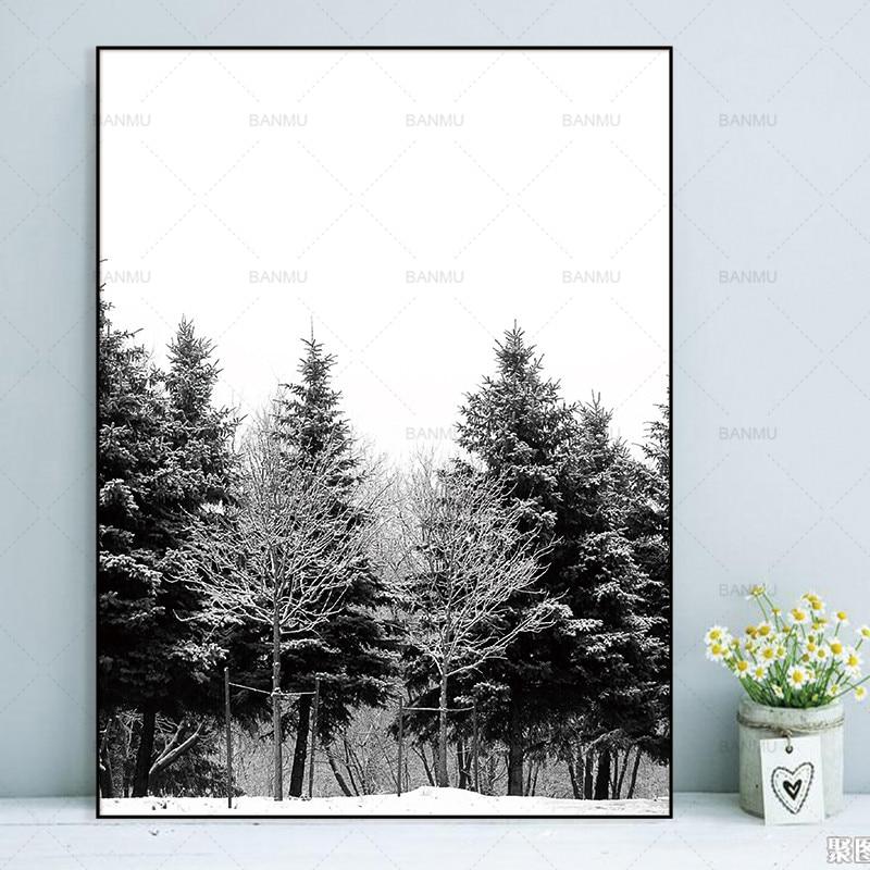 Skandinavia Musim Dingin Salju Hutan Pohon Nordic Abstrak Gambar - Dekorasi rumah - Foto 5