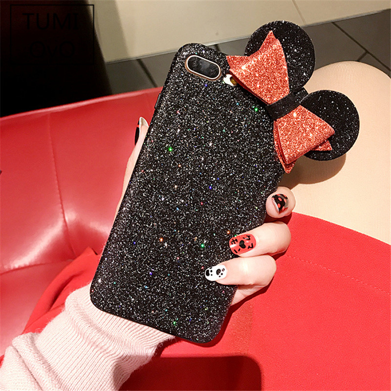 Luxury Shine Bling Minnie Mouse Ear Soft TPU Case For iPhone 6 6s 7 8 Plus Back Phone Cover Cases 3D Bowknot Flash Powder