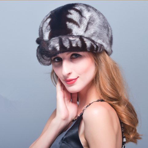 HM019 women's winter hats Real genuine mink  fur hat  winter women's warm caps whole piece mink fur hats mink skullies beanies hats knitted hat women 5pcs lot 2299