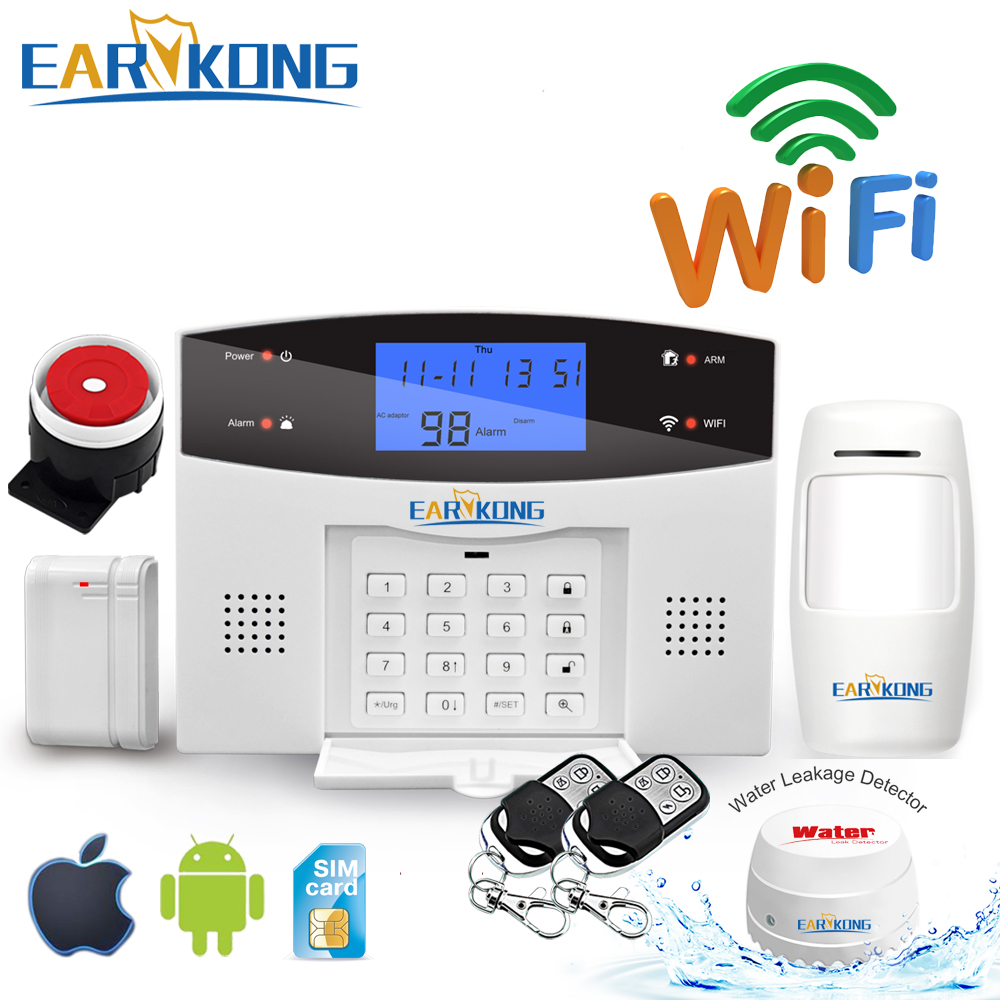 Wifi GSM PSTN Alarm System Wireless & Wired Detectors Alarm Smart Home Relay Output APP English/Russian/Spanish/France/Italian(China)