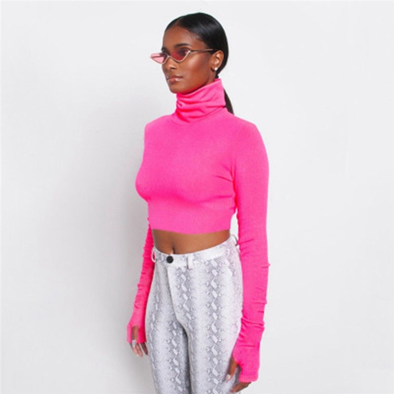 US Stock Women Turtle Neck Crop Top Ladies Long Sleeve Plain T-shirt