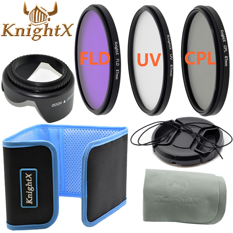 KnightX UV FLD cpl nd filter 67mm lens Set for canon eos 600d 1200d for Nikon d5300 d5500 d3300 d3200 d7100 t3i 49 52 55 58 MM