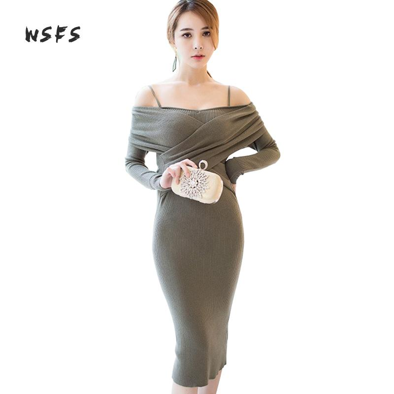 Wsfs Winter Women Dresses Knitted Slash Neck Long Sleeve Vintage Bandage Spaghetti Strap Dress Sexy Party Bodycon Pencil Dress 2017 sexy women patchwork blue color block spaghetti strap knitted sexy women bodycon open back bandage dresses lb m317