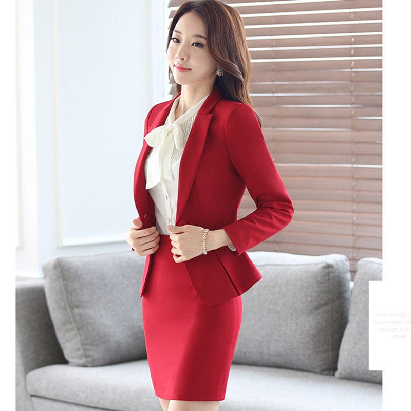 Costumes Bureau Blanche Suit 1 Dames Skirt Veste Costume Formelle Jupe Blazer À red Suit D'affaires Black grey 3 Suit Pièces Ow0372 Manches Automne Longues Fmasuth Ol Chemise wq5fZ7T