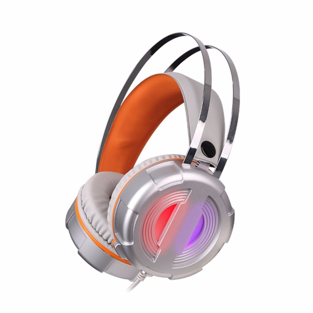 Professional Headset With Super Bass Music Headband Noise Cancealing Headphone with Microphone Colorful LED Light each g1100 shake e sports gaming mic led light headset headphone casque with 7 1 heavy bass surround sound for pc gamer