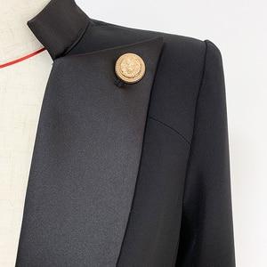 Image 5 - Główna ulica nowy 2020 projektant stylowy blezer damski zapinany na jeden guzik lew guzik zdobiony satynowy kołnierz żakiet z dzianiny dresowej