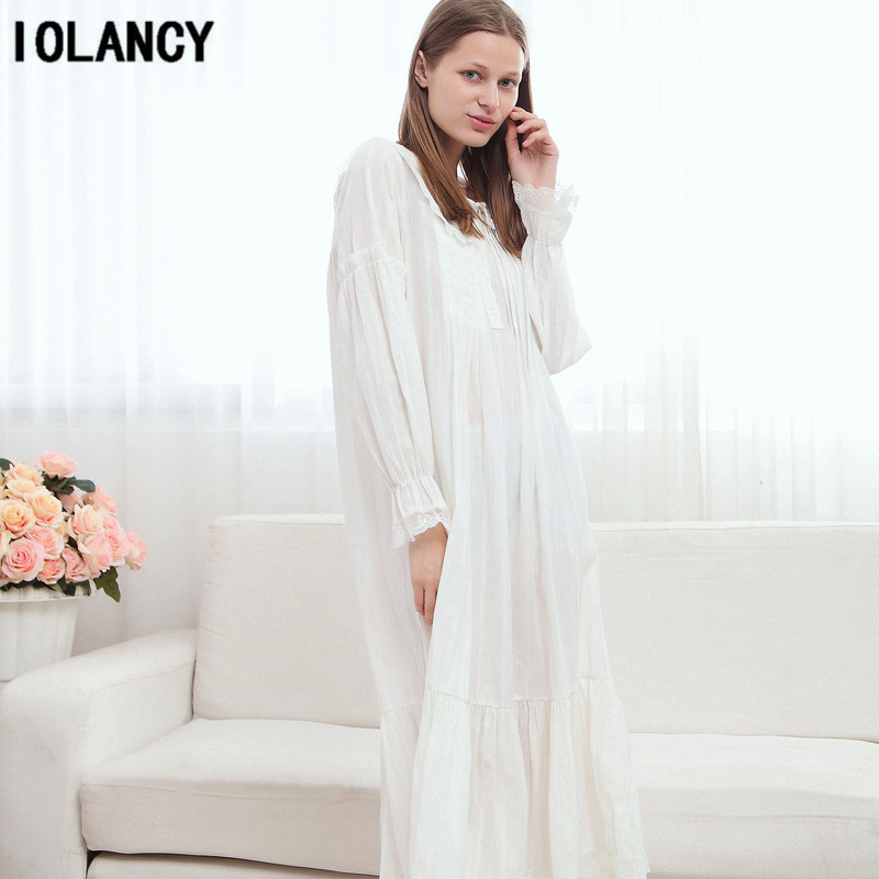 Maternity Pijama Dress European Palace Retro Princess White Nightgown Long  Sleeved 100% Cotton Pajamas for Pregnant Women YFQ142-in Sleep   Lounge  from ... 2c7b12331