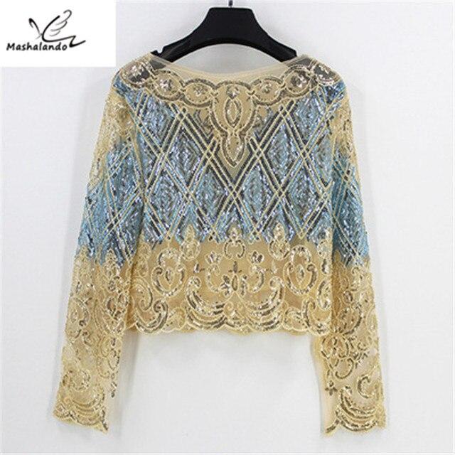 2018 Bling Sheer Body Crop Top Blusas Feminina Lace Mesh Long Sleeve Floral  Embroidery Sequin Beading 34b95093b1cd