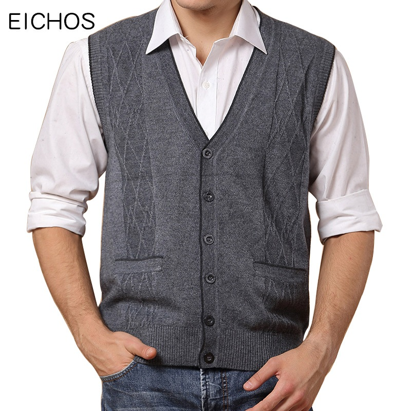 EICHOS Wool Vest Men 2017 Autumn Winter Solid Business Mens Cashmere Knitted Vest V-neck Cardigan Men Brand Clothing 0903MY