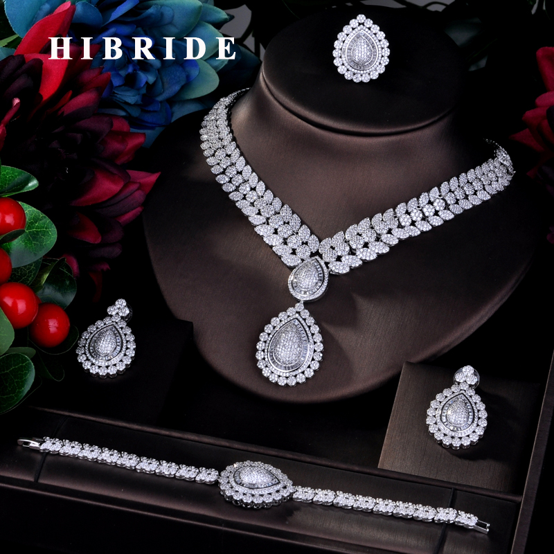 HIBRIDE Luxury Earring Bracelet Ring Necklace CZ Pave Big Full Jewelry Sets For Women Bridal Wedding