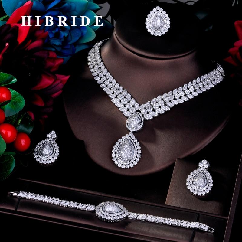 HIBRIDE luxe boucle d'oreille Bracelet bague collier CZ Pave grands ensembles de bijoux complets pour les femmes mariée mariage accessoires bijoux N-762