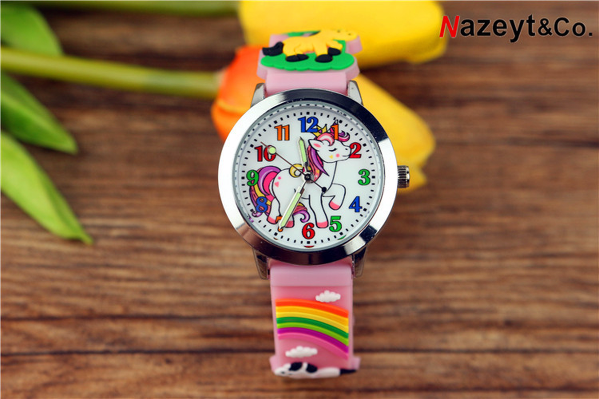 The New 2019 Lovely Children Cartoon Pony Quartz Watch Animal Unicorn 3 D Silicone Wrist Watch Luminous Pointer