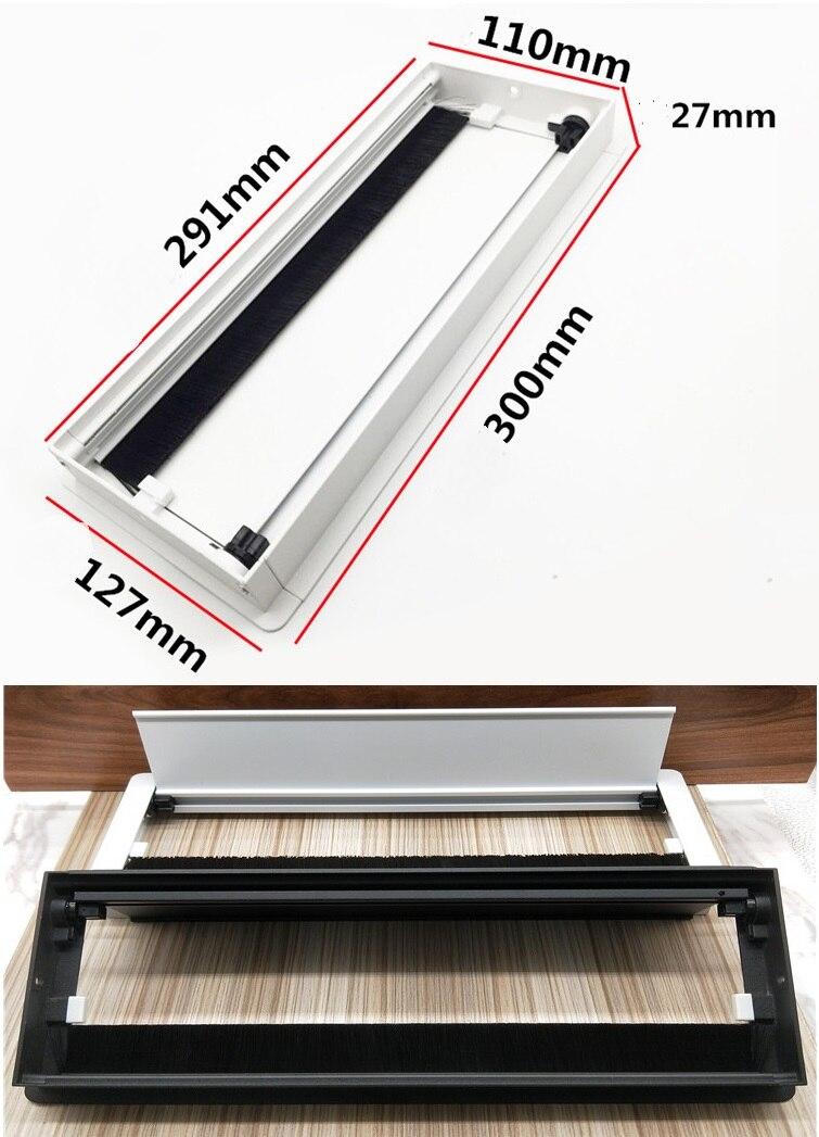 Premintehdw W127*H300mm Rectangle Aluminum Table TV Cabinet Desk Wire Cable Tap Grommet Soft Quiet buffering Flap Cover Brush
