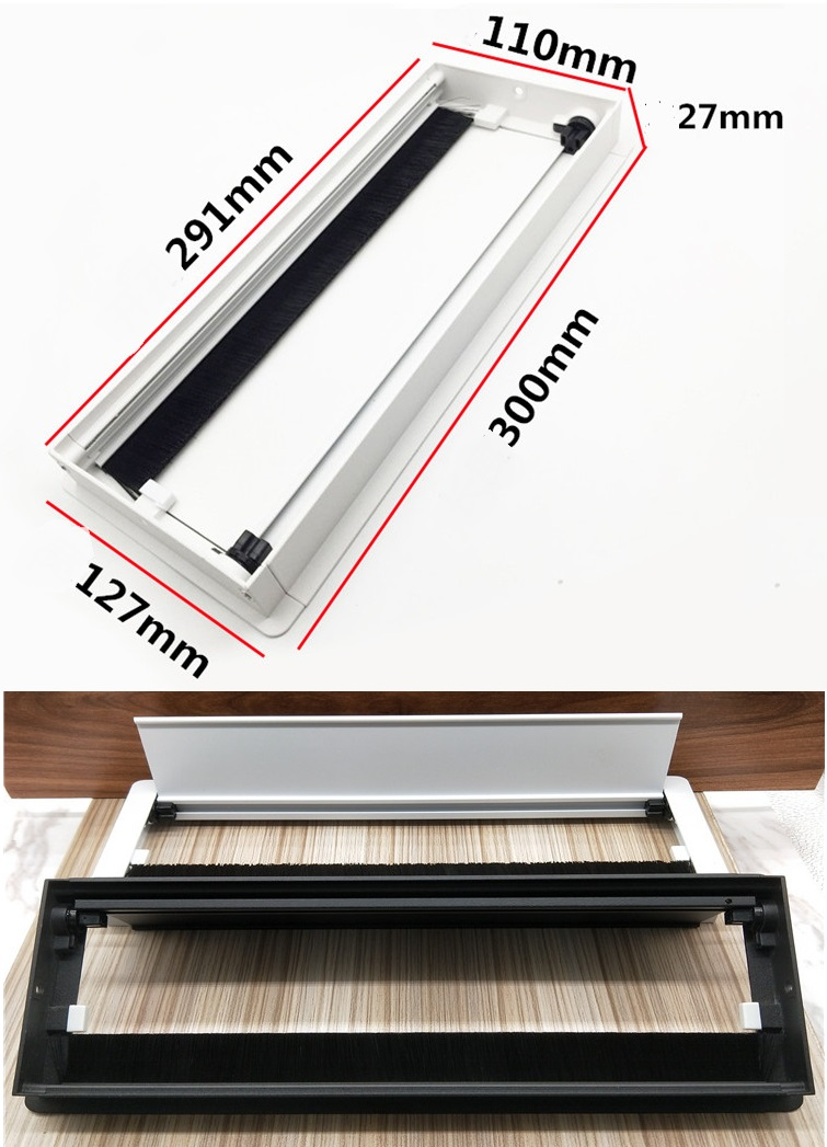 Premintehdw W127*H300mm Rectangle Aluminum Table TV Cabinet Desk Wire Cable Tap Grommet Soft Quiet buffering Flap Cover Brush