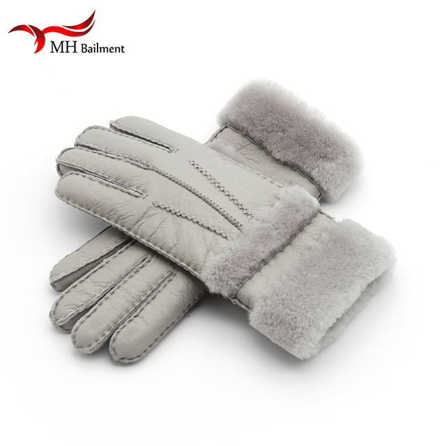 549186e9ba638 Top Quality Genuine Leather Warm Fur Glove For Men Women Thermal Winter  Fashion Sheepskin Ourdoor Thick Five Finger Gloves G5
