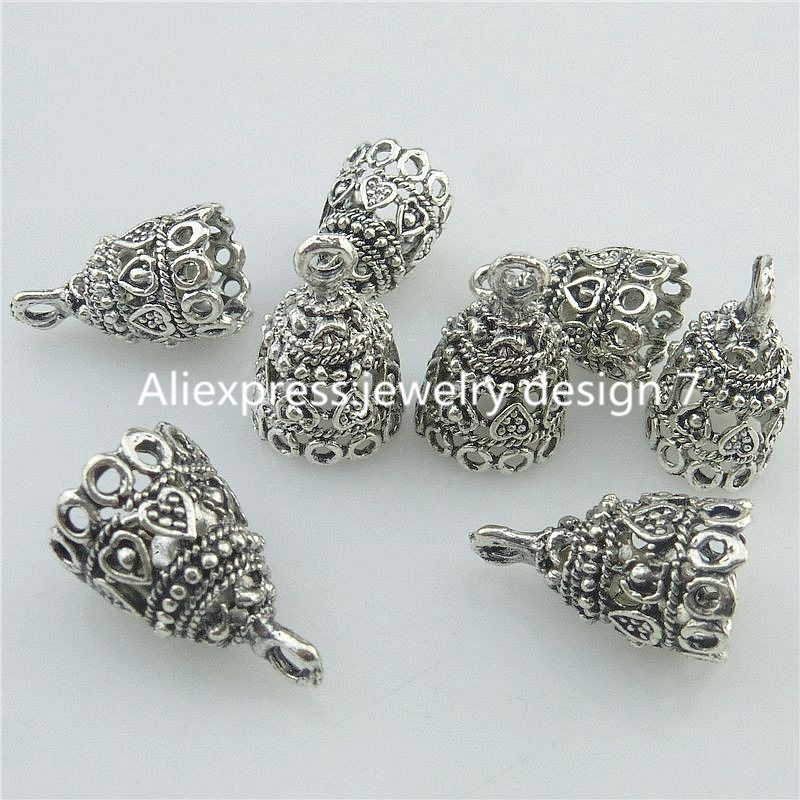 18218 15PCS Alloy Vintage Heart 19.5mm Cap Bail Pendant Bead Tassels End Cap
