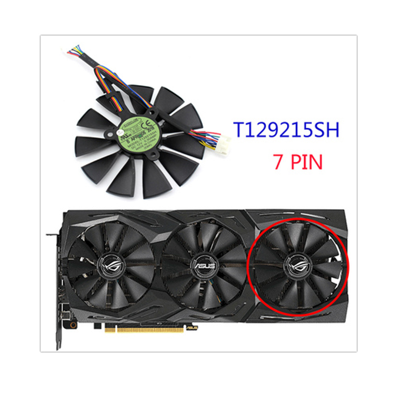 Image 4 - 87mm T129215SH T129215SL 12V 0.30A Fan For ASUS ROG STRIX RTX 2070 O8G GAMING RTX2060 O6G Graphic Card Cooling Fan-in Laptop Cooling Pads from Computer & Office
