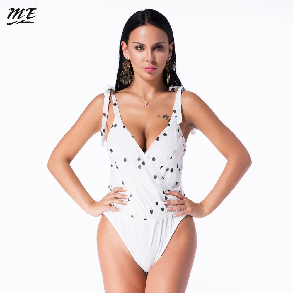 ME Lace Up Women Bodysuit Sexy Deep V-Neck Sleeveless Polka Dot Mesh Romper Summer Beach Elegant Party Jumpsuit Plus Size