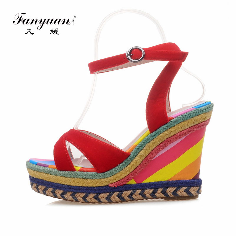 Fanyuan Women Summer Wedges Shoes Bohemian Straw High Heel Ladies Summer Wedges Sandals Casual Shoes Woman Platform Sandals sagace shoes women 2018 summer high heel fish mouth platform wedges sandals fresh style weekend shopping party shoes jl 03