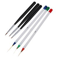 3 Pcs Sable Nail Art Line Drawing Brushes + 3 Pcs Dotting Pen Detailer Liner and Striper Tool Set