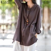 ZANZEA Women 2017 Autumn Cotton Blouses Casual Loose Solid Shirts Vintage Stand Collar Long Sleeve Plus