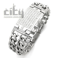 Fashion Jewelry Stainless Steel Personality Rock Style Cool Men Bracelet THE HEART OF PRAJNA PARAMITA SUTRA