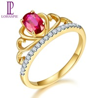 Lohaspie Engagement Crown Ring 0.52ct Natural Precious Ruby & Diamond Solid 18k Yellow Gold Diamond Jewelry For Women 2017 NEW