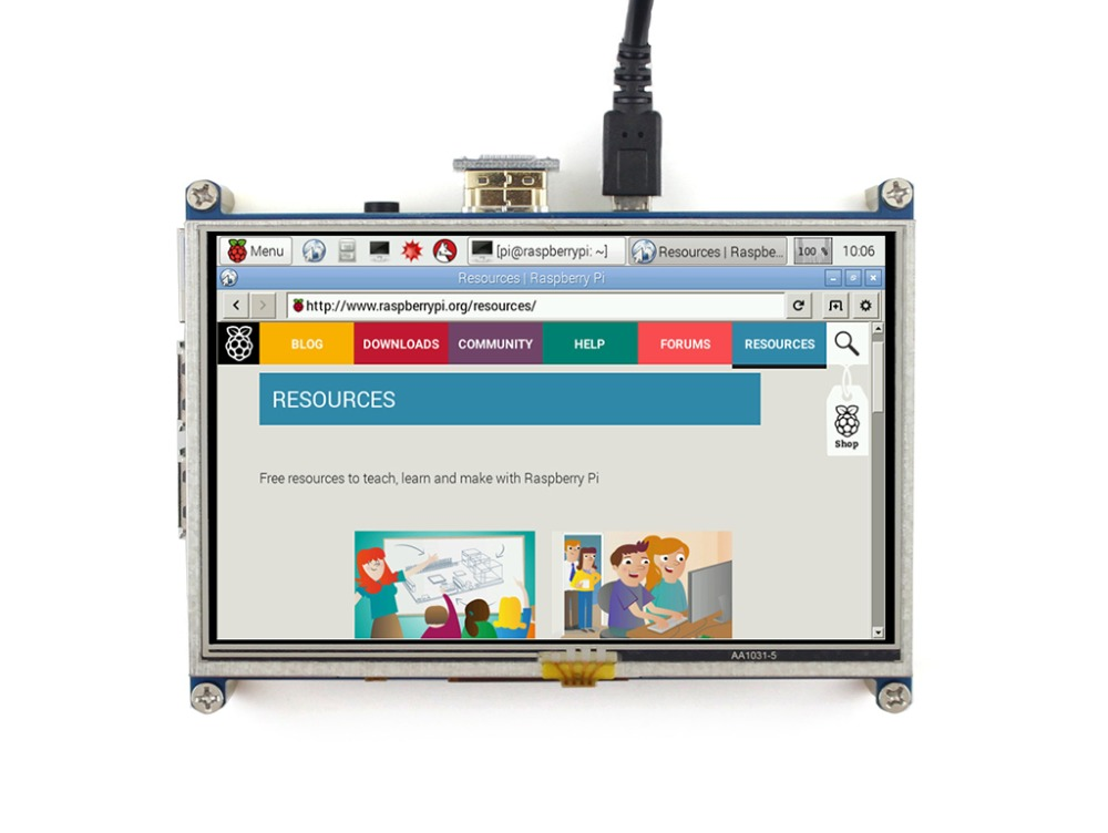 Waveshare 5inch HDMI LCD Display 800x480 resolution Resistive Touch Screen Supports Raspberry Pi Zero/Zero W/Zero WH/2B/3B/3B+ 5inch lcd screen with capacitive touch panel 800x480 40pin lcd display