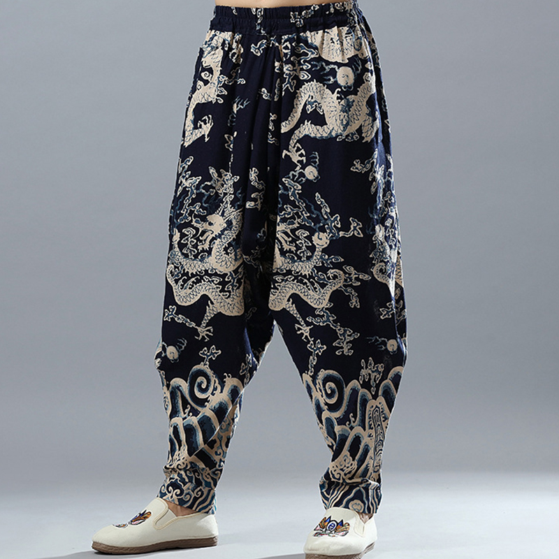 e968d4622a Dragons Printing Mens Casual Linen Pants Drop Crotch Traditional Chinese  Style Elastic Waist Cotton & Linen ...