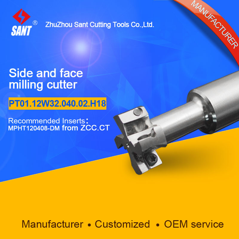 Indexable milling cutter insert MPHT120408-DM Side and face milling cutter disc PT01.12W32.040.02.H18/TMP01-040-XP32-MP12-02