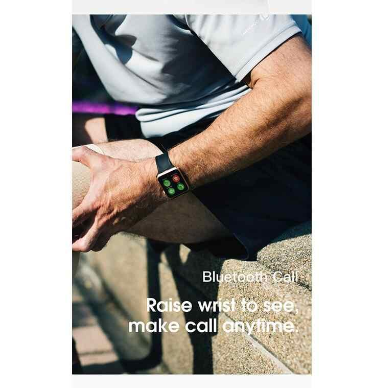 Smartwatch Iwo8 44 Mm Ukuran 1:1 Smart Watch Android Iwo 8 Heart Rate Smartwatch Merah Tombol Kotak Paduan Emas untuk IOS Android Ponsel