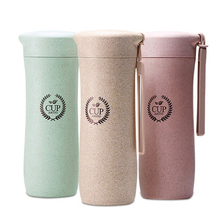 GFHGSD Creative Real New Protein Shaker Water Bottle Wheat Straw Fiber Plastic Bottle Warm Hand Portable For Travel Filter