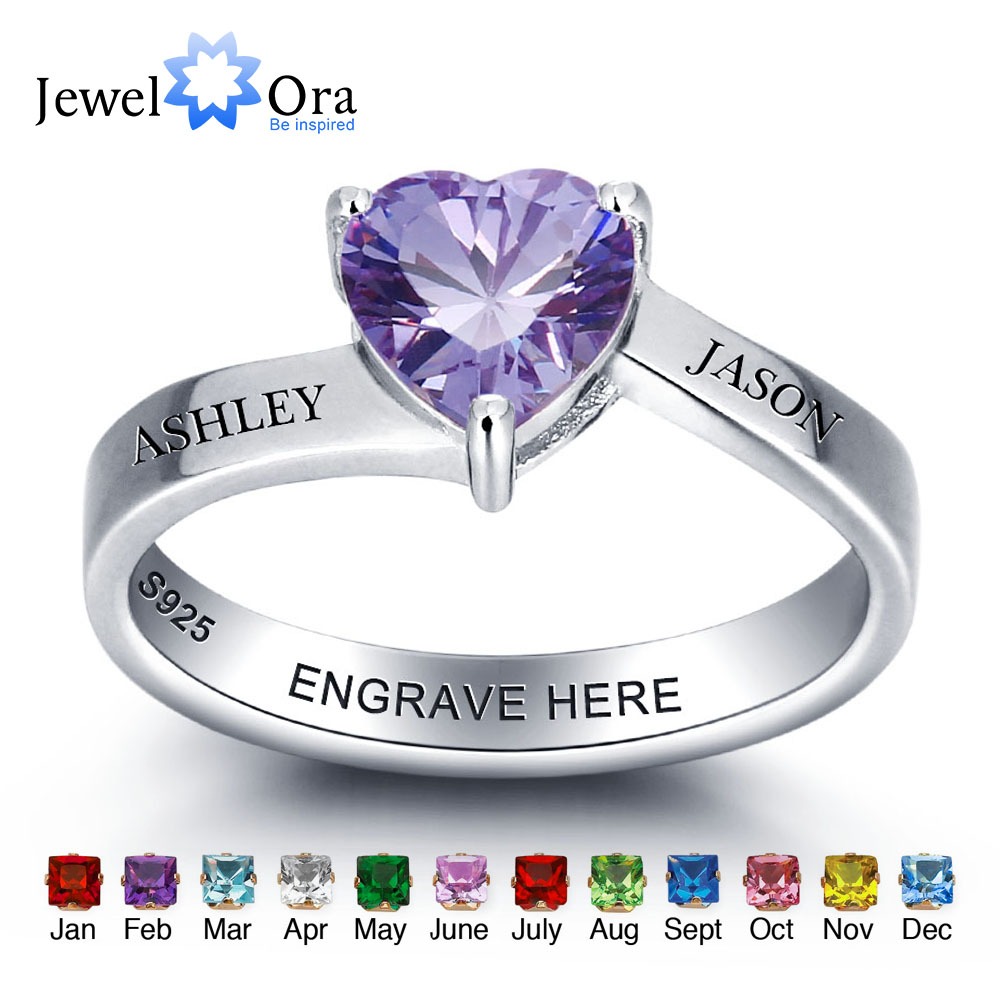 Personalized 925 Sterling Silver Heart Birthstone Ring DIY Jewelry For Couples Customize Name Ring Best Gift