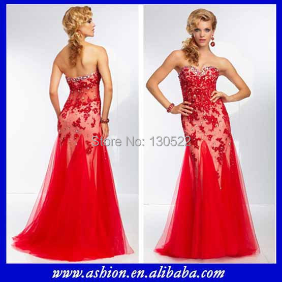 Free shipping ED 2636 Latest design see through corset prom dress ...