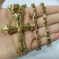 73mm * 47mm Gold Ton Kreuz Anhänger Halskette Kette 316L Edelstahl Schöne männer Geschenk Schmuck Freies 4mm Byzantinischen Kette