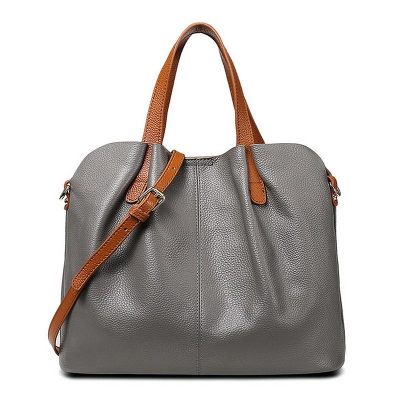 Schulter Taschen Hohe Handtasche Leder Casual Weibliche Tasche Frauen Stamm Echtes Clutch Grey Marke Qualität Tote Damen 1q74W
