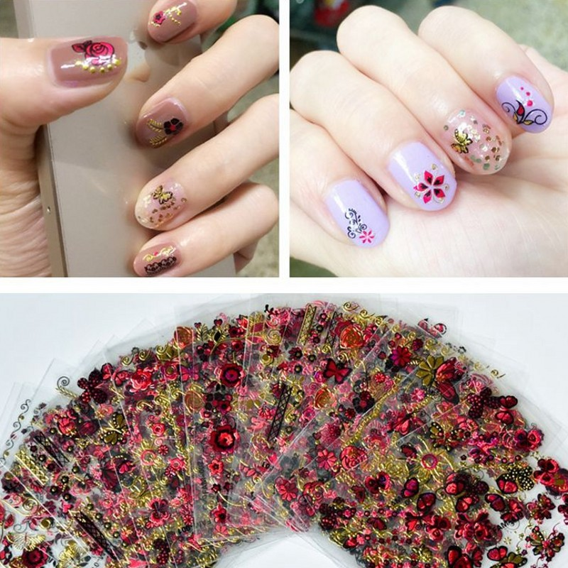 30PCS/Lot Hot Sale 2018 New Arrival Fashion Butterfly Flower 3D Nail Sticker Nails Art Decals 6*5cm
