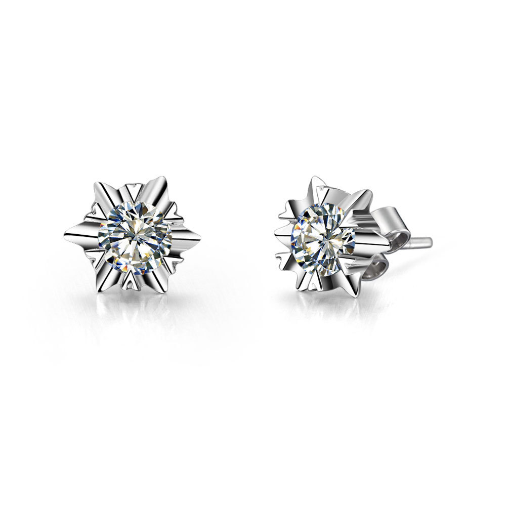 Piece Snow Flake Solid White Gold Earrings Synthetic  Diamonds Wedding Earrings Stud