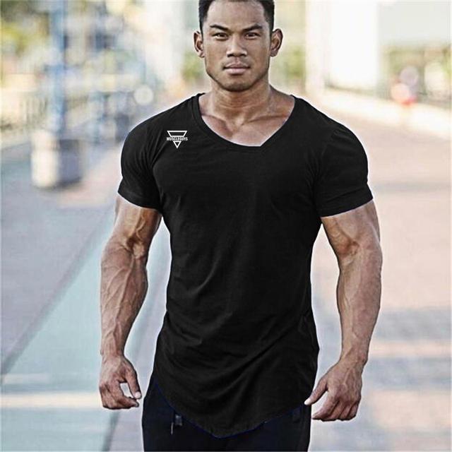 2018 Summer Fashion Brand T-Shirt Mens Gyms Clothing V-neck Short Sleeve Slim Fit T Shirt Ftiness Men compression Tshirt homme