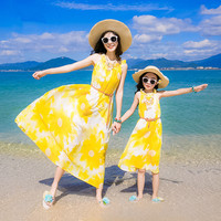 Summer Mother Daughter Dress Casual Boho Vestidos Mommy And Me Clothes Sun Flower Family Look Matching Beach Mom Girls Dresses
