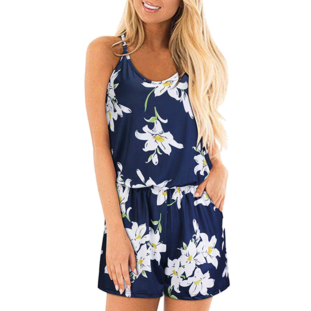 Feitong Women Rompers Floral Print Jumpsuit Summer Spaghetti Strap Overalls For Women Casual Jumpsuit combinaison femme 2019 Price $9.93