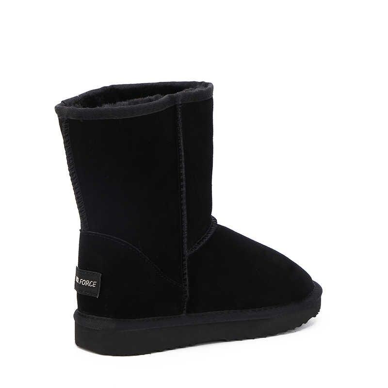 MBR FORC Klassische wasserdichte echtem rindsleder schnee stiefel Wolle Frauen Stiefel Warme winter schuhe für frauen große UNS 3 -13