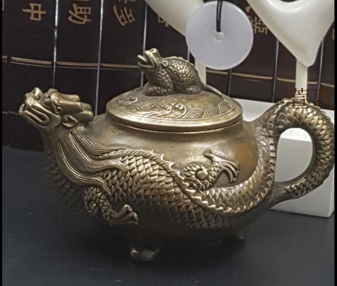Rare sculpture traditionnelle chinoise sculpture dragon tortue pot sculpture longévité cuivre pot dragon bouche pot vin théière decoratio