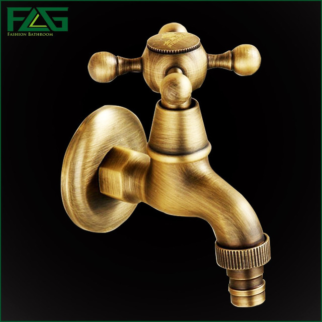 FLG Antique Brass Bathroom Laundry Wall Mount Washing Machine Water ...