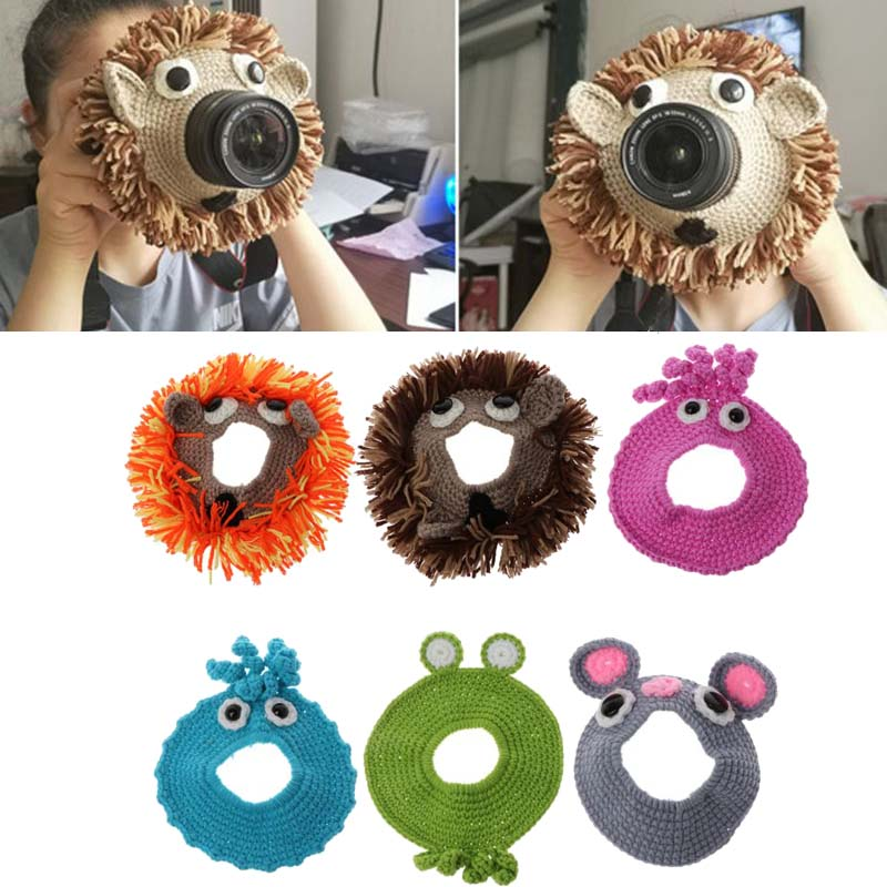 Animal Camera Buddies Lens Accessory for Child/Kid/Pet Photography Knitted Lion