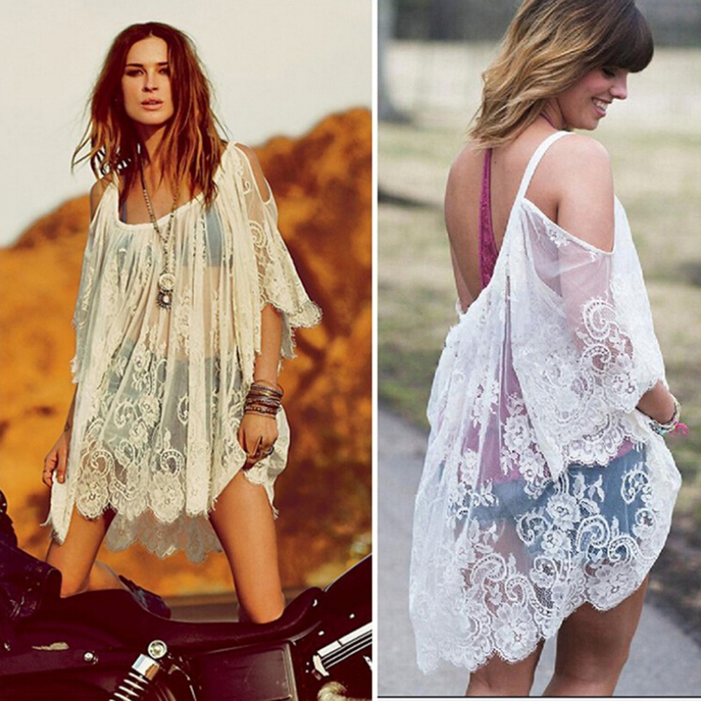 Summer Beach Bikini Cover Up Floral Embroidery Swimming Suit Swimwear Women Robe De Plage Mesh Sexy Lace Bathing Dress