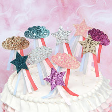 1pc Glitter Cupcake Topper Colorful Sequin Cloud Star Ribbon Cake Topper For Wedding Birthday Party Cake Decorations Baby Shower(China)