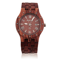 BEWELL 3 Colors Cool Men Sandalwood Wooden Quartz Watch Round Wristwatch Luxury Gifts 2017 New Fashion