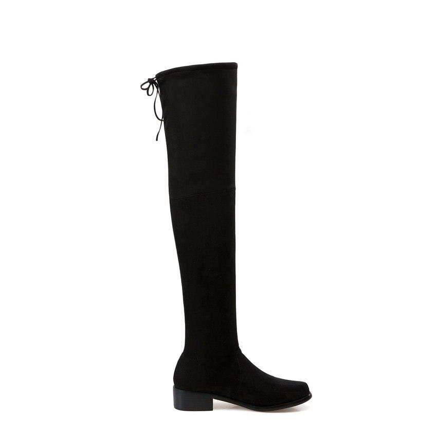Tasslynn 39 Lace Talons Noir 2018 Mode Bottes Le Up Femmes Genou Troupeau Party Chaussures Extensible Épais Taille Tissu Sur rrWTUn